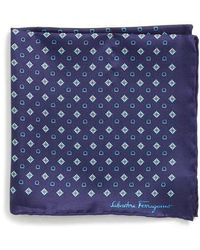 Ferragamo - Edison Medallion Silk Pocket Square - Lyst