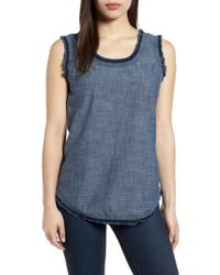 Kenneth Cole - Frayed Chambray Tank - Lyst