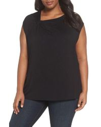 Sejour - Twisted Neck Cap Sleeve Top - Lyst