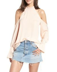 Kendall + Kylie - Mock Neck Cold Shoulder Top - Lyst