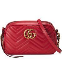 7dc4d39a1 Gucci - Small Gg Marmont 2.0 Matelassé Leather Camera Bag - Lyst