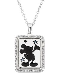 Disney - Mickey Mouse 'dream Bigger' Crystal Accent Pendant Necklace - Lyst