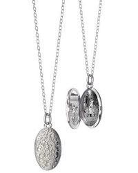Monica Rich Kosann - Floral Pattern Locket Necklace - Lyst
