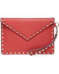 Valentino - Medium Rockstud Leather Envelope Pouch - Lyst