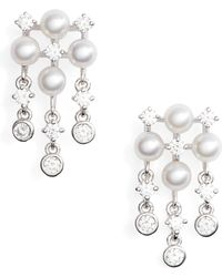 Mikimoto - Akoya Cultured Pearl & Diamond Earrings - Lyst