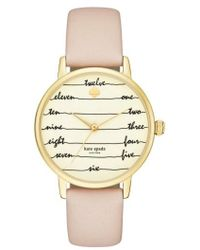 Kate Spade - 'metro - Chalkboard' Leather Strap Watch - Lyst