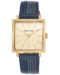 Anne Klein - Square Leather Strap Watch - Lyst