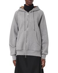 Burberry - Vintage Check Detail Jersey Hooded Top - Lyst
