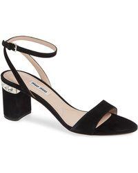 e04d11bc661 Lyst - Miu Miu Faceted Jewel-Heel Sandal in Metallic
