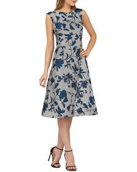 Kay Unger - Bateau Neck Tea-length Dress - Lyst