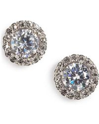 Nadri - Round Cubic Zirconia Stud Earrings - Lyst