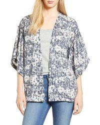 Bobeau - Ruffle Sleeve Open Print Jacket - Lyst