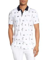 Ted Baker - Trim Fit Golf Print Polo - Lyst