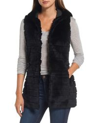 Love Token - Genuine Rabbit Fur Hooded Vest - Lyst