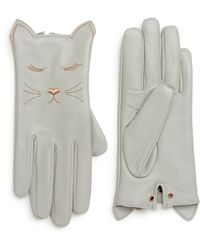 Ted Baker - Cat Leather Touchscreen Gloves - Lyst