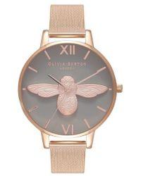 Olivia Burton - Molded Bee Mesh Strap Watch - Lyst