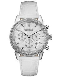 INGERSOLL WATCHES - Ingersoll Crystal Accent Chronograph Leather Strap Watch - Lyst