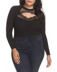 Lost Ink - Ribbed Lace Trim Bodysuit - Lyst