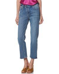 PAIGE - Noella Asymmetrical High Waist Crop Jeans - Lyst