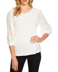 Cece - Lace Sleeve Stretch Crepe Blouse - Lyst