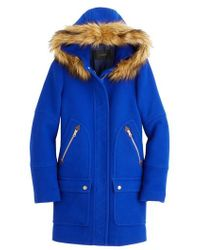 J.Crew | J.crew Chateau Stadium Cloth Parka With Faux Fur Trim | Lyst