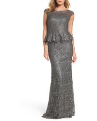 La Femme - Embellished Lace Peplum Gown - Lyst
