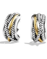 David Yurman - Crossover Earrings With Gold - Lyst