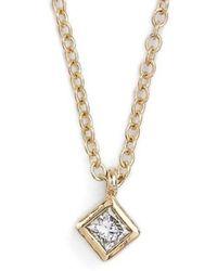 Zoe Chicco - Princess Diamond Pendant Necklace - Lyst