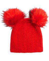 TOPSHOP - Faux Fur Double Pompom Beanie - - Lyst