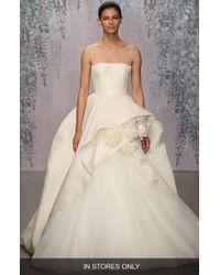 Monique Lhuillier - Rosette Detail Silk Ballgown Dress - Lyst