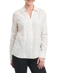 Foxcroft - Nicole Windowpane Print Shirt - Lyst