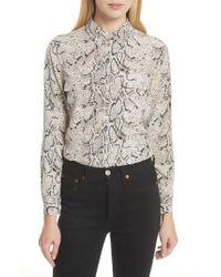 72f1676dd3c161 Lyst - Equipment  slim Signature  Floral Print Silk Shirt in White