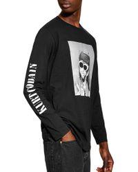 3fdf70b8 TOPMAN - Kurt Cobain Graphic Long Sleeve T-shirt - Lyst