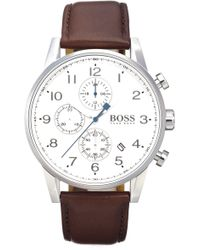BOSS - Chronograph Leather Strap Watch - Lyst