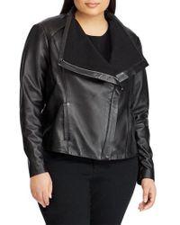 Lauren by Ralph Lauren - Drape Front Leather Jacket - Lyst