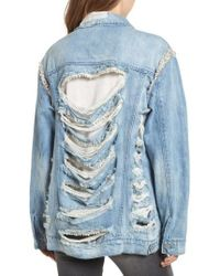 Love, Fire - Embellished Ripped Denim Jacket - Lyst