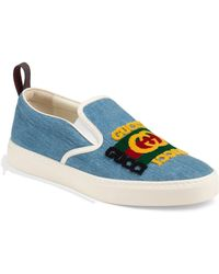 18575b7040a Gucci - Men s Denim Slip-on Sneakers With Patch - Lyst
