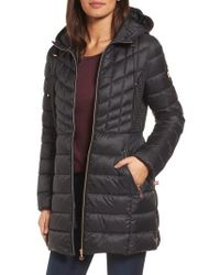 Bernardo - Hooded Packable Down & Primaloft Coat, Black - Lyst