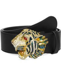 b9a90af50e6646 Gucci Leather Belt With Wolf Head in Black - Lyst