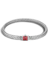 John Hardy - Extra Small Classic Chain Bracelet With Red Sapphire - Lyst