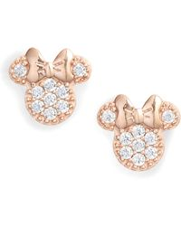 Disney - Minnie Crystal Pave Stud Earrings - Lyst