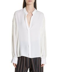 Vince - Mixed Media Pullover Silk Blouse - Lyst