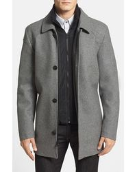 Vince camuto Melton Car Coat With Removable Bib in Gray for Men | Lyst