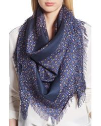 Tory Burch - Wild Pansy Logo Square Scarf - Lyst