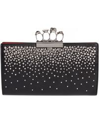 Alexander McQueen - Four-ring Knuckle Crystal-studded Leather Clutch Bag - Lyst