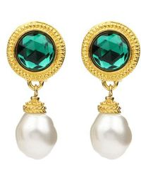 Ben-Amun - Crystal & Imitation Pearl Clip Earrings - Lyst