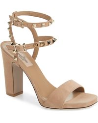 fd606f685 Valentino Rockstud Patent Leather Sandal in Natural - Lyst