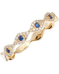 EF Collection - Evil Eye Diamond & Sapphire Stack Ring - Lyst