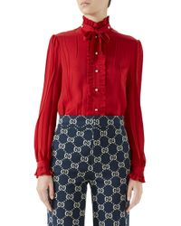 Gucci - Tie Neck Ruffle Detail Silk Blouse - Lyst