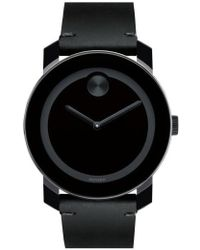 Movado | 'bold' Leather Strap Watch | Lyst